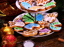 Christmas Cookie of Gingerbread on Tiered Cookies Stand. Royalty Free Stock Photo