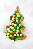 Christmas cookie, glazed christmas tree shape on a snow Royalty Free Stock Photography