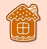 Christmas cookie house cake vector sweet desserts cooked. Food traditional cakes for Xmas dinner and teatime illustration royalty free illustration