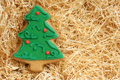 Christmas cookie made in shape of a Christmas tree stock photos