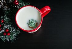 Christmas cookie in milk Royalty Free Stock Photo