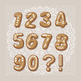 Christmas cookie numbers. Vector font Royalty Free Stock Photography