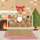 Christmas cookie santa claus fireplace room Royalty Free Stock Images
