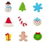 Christmas cookie set. Of nine gingerbread cookies Royalty Free Stock Image