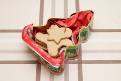 Christmas cookie in shape of man in giftbox Royalty Free Stock Photography