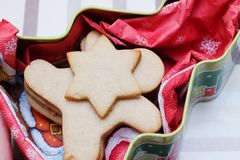 Christmas cookie in shape of man in giftbox Royalty Free Stock Photos