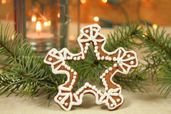 Christmas cookie snowflake Stock Image