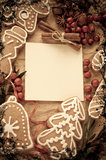 Christmas cookie with spice on the paper Royalty Free Stock Photo