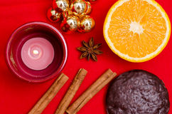 Christmas cookie and spices Royalty Free Stock Photography