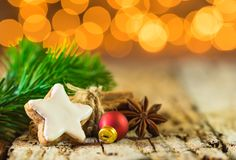 Christmas cookie and spices with festive decoration Royalty Free Stock Photo