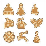 Christmas cookie vector icons set Royalty Free Stock Photos