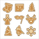 Christmas cookie vector icons set. Made in clean flat style for web design and user interface, also useful for infographics and applications stock illustration