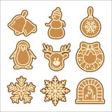 Christmas cookie vector icons set Stock Photo