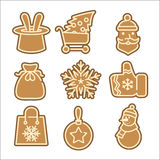 Christmas cookie vector icons set Royalty Free Stock Image