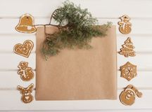 Christmas cookie on a white wood board. space for text Royalty Free Stock Photography