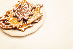 Christmas Cookie on Wooden Background Stock Photos