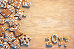 Christmas cookie on wooden background. Royalty Free Stock Photo