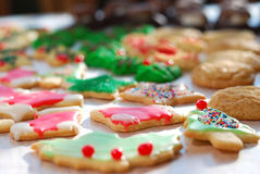 Christmas cookies. Spread out on wax paper Stock Images