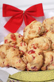Christmas cookies. Holiday themed candied cherry and almond cookies royalty free stock photos