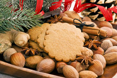 Christmas cookies. With nuts on a plate Royalty Free Stock Images