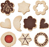 Christmas cookies. Traditional Christmas cookies of different shapes on white background Royalty Free Stock Photo