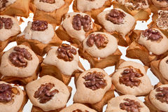 Christmas cookies. Christmas cookies with nuts over white background Stock Photos