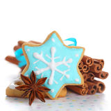 Christmas cookies. With cinnamon and anise on white isolated background royalty free stock photos
