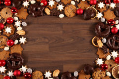 Christmas Cookies. Some delicious christmas cookies and sweets in a frame royalty free stock photo