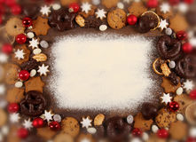 Christmas Cookies. Some delicious christmas cookies and sweets in a frame stock photography
