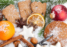 Christmas Cookies. Mix of different christmas cookies in a winter wonderland Royalty Free Stock Photography