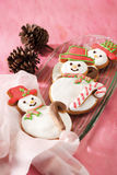 Christmas cookies. Shape like snowman royalty free stock image