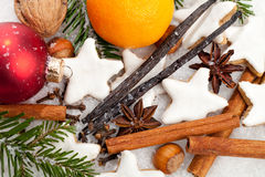 Christmas Cookies. Some spices and some christmas decoration in snow stock images