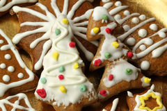 Christmas cookies. Christmas gingerbread cookies with colorful icing ornaments Stock Photo