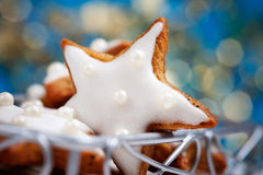 Christmas cookies. Baking star shape christmas cookies, selective focus Stock Photography