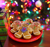 Christmas Cookies. By a Christmas tree royalty free stock images