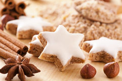 Christmas cookies. Zimtstern with spices Royalty Free Stock Photo