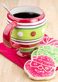 Christmas cookies. Colorful Christmas cookies and coffee Stock Image