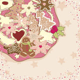 Christmas cookies. On plate in pink tone Stock Images