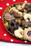 Christmas cookies. On gold plate stock images