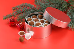 Christmas cookies. In a silver box royalty free stock photo