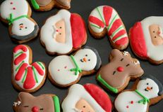 Christmas Cookies. On the baking tray the cookies are ready to eat Royalty Free Stock Images