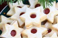 Christmas cookies. On a plate- stars with jam Stock Photos