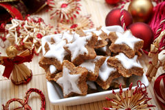 Christmas cookies. Some star christmas cookies in a bowl Royalty Free Stock Photo