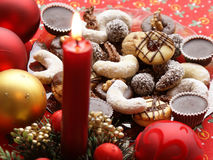 Christmas cookies. With candle close up Stock Photos