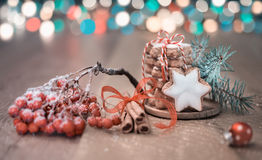 Christmas cookies on abstract festive background Royalty Free Stock Image