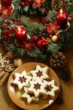 Christmas cookies. And advent wreath stock image
