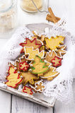Christmas Cookies. As closeup in a wooden tray Stock Photos