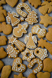 Christmas cookies assorted. On the old weathered table Stock Photos