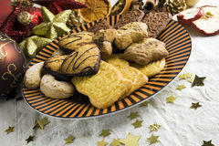 Christmas cookies assortment on a plate Royalty Free Stock Photos