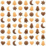 Christmas Cookies Assortment. Seamless wallpaper can be created. Isolated vector illustration on white background Royalty Free Stock Photo
